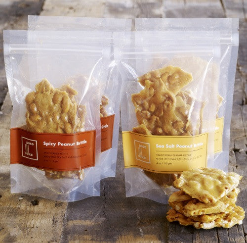 Bags of hand-pulled Sweet & Savory Peanut Brittle is crafted with roasted Virginia peanuts, California butter, and a touch of Grey Sea Salt