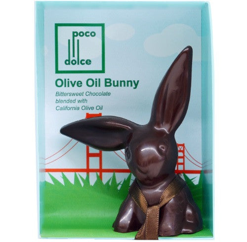 Olive OIl & Dark Chocolate Bunnies packed in a box with a San Francisco themed background