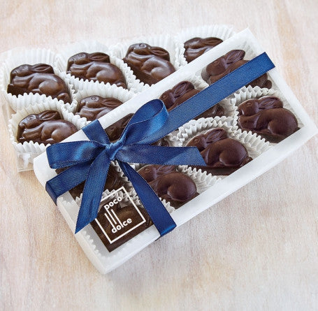 8 piece Dark Chocolate Bunnies filled with a smooth ganache crafted from fresh raspberries