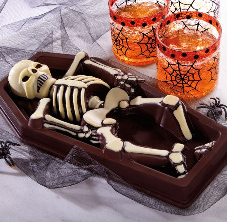 2.5 lb dark chocolate skeleton in a coffin