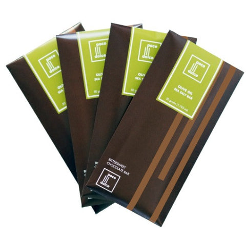 4 pack California Olive Oil and Bittersweet Chocolate Bar with a touch of Grey Sea Salt Fine Chocolate Bars