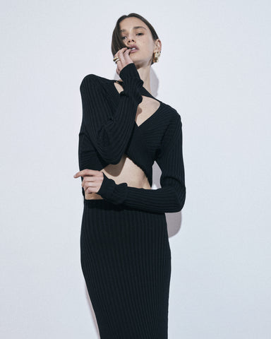 Caes 0016 open curved back rib knit dress