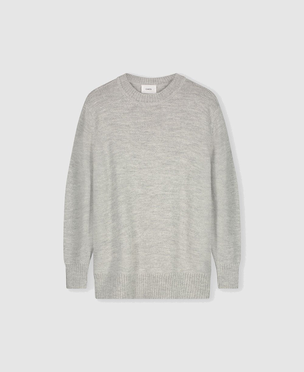 0002 oversized knitted sweater with curved sleeves - light grey melange