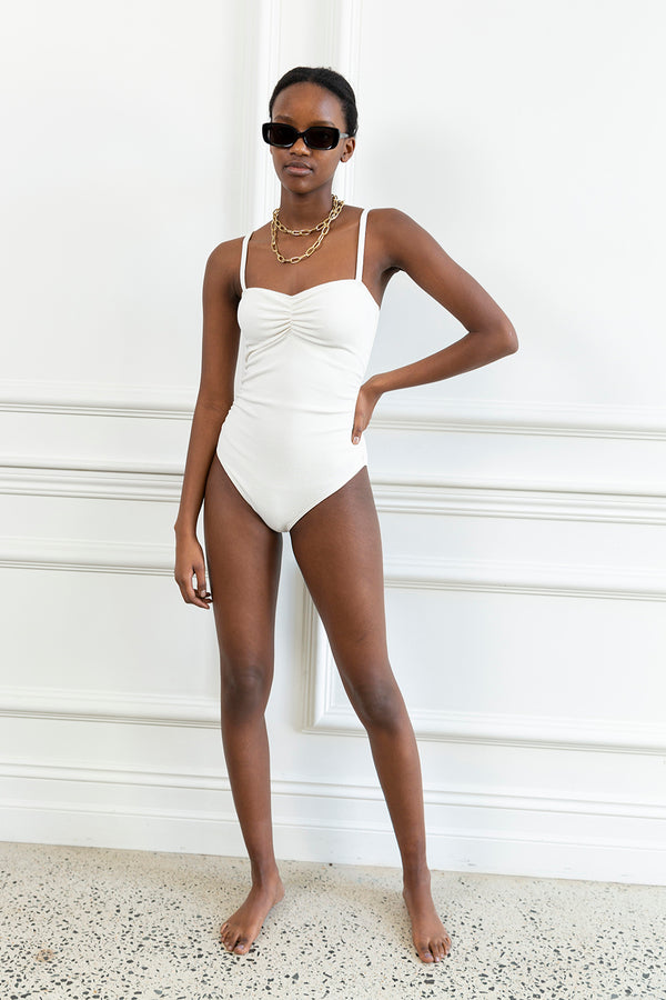 Cream Square Neck One Piece