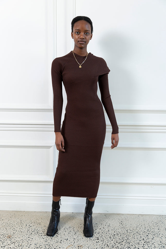 Fold Ribbed Knit Dress