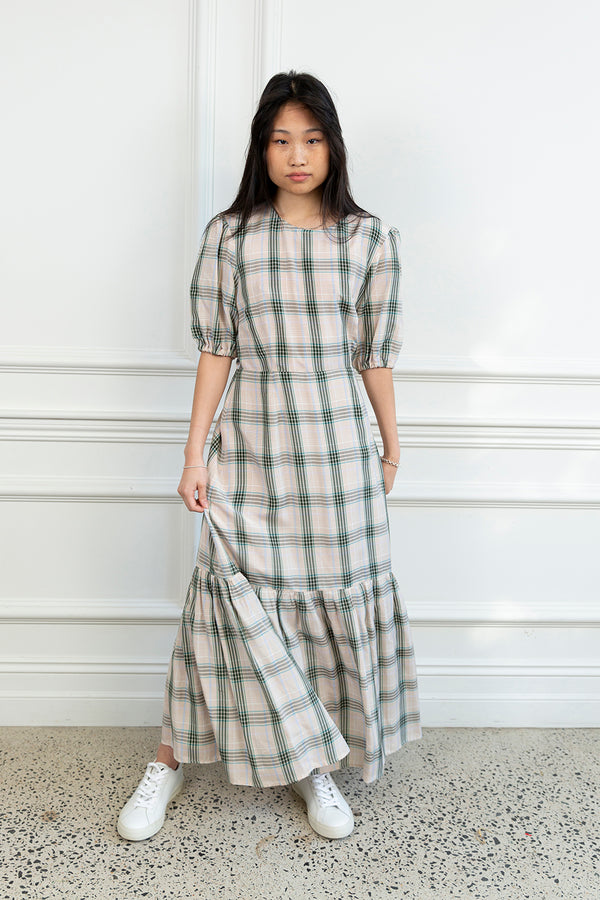 Flora Dress Green Check