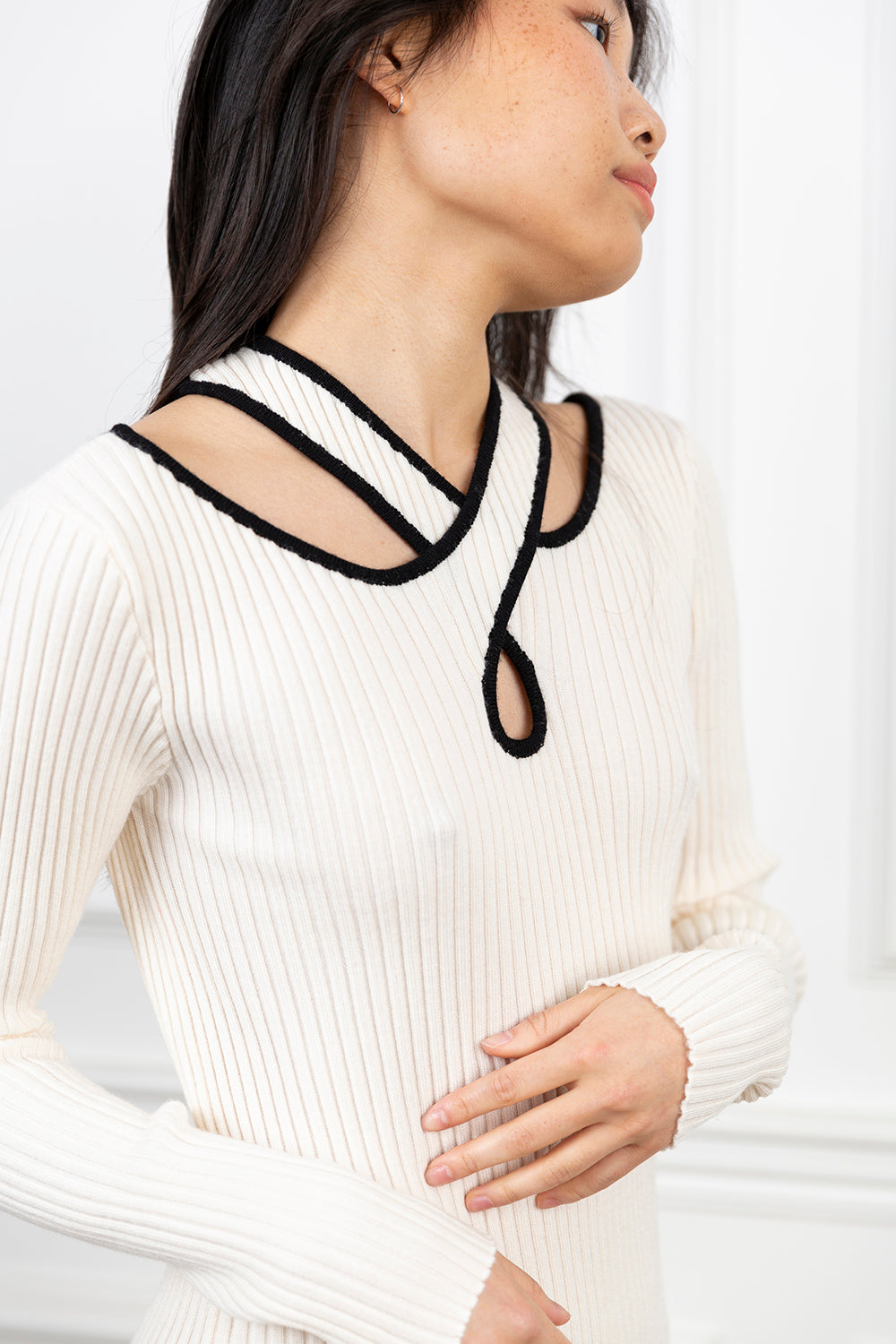 Crossover Ribbed Knit Dress