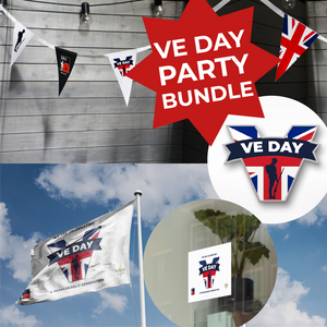 VE Day 2021 Party Bundle- Bunting, Flag, Sticker & Pin