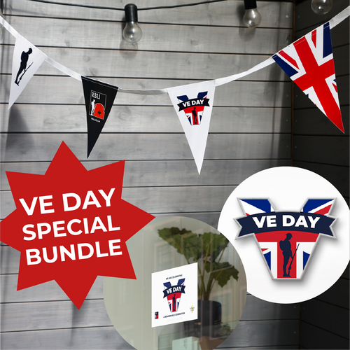VE Day 2021 Special Bundle- Bunting, Sticker & Pin