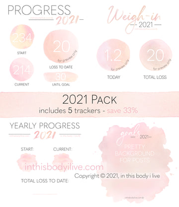 2021 Pack - Weigh-In, Progress + Goals - Coral Peach