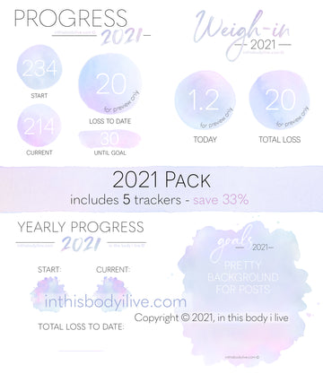 2021 Pack - Weigh-In, Progress + Goals - Purple Splash