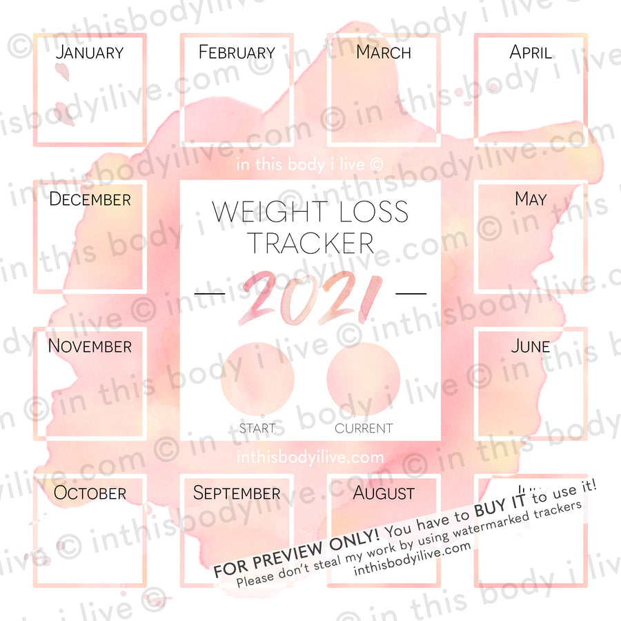 Coral Splash - 2021 Weight Loss Calendar