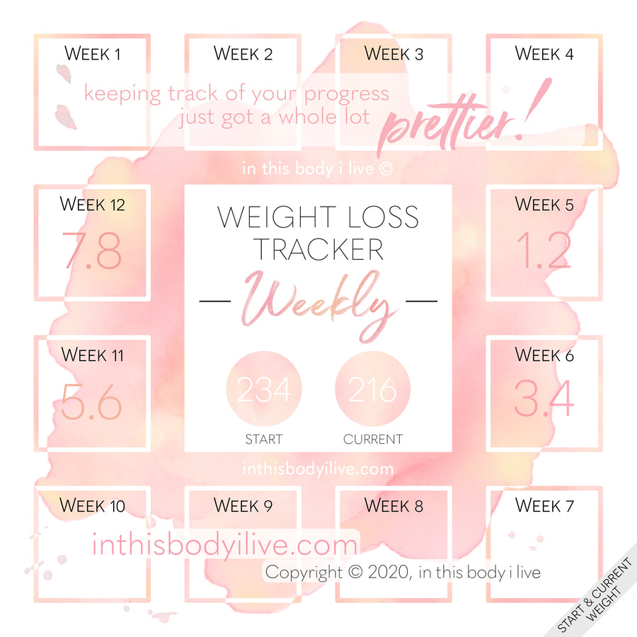 Coral Splash - Weekly Weight Loss Tracker
