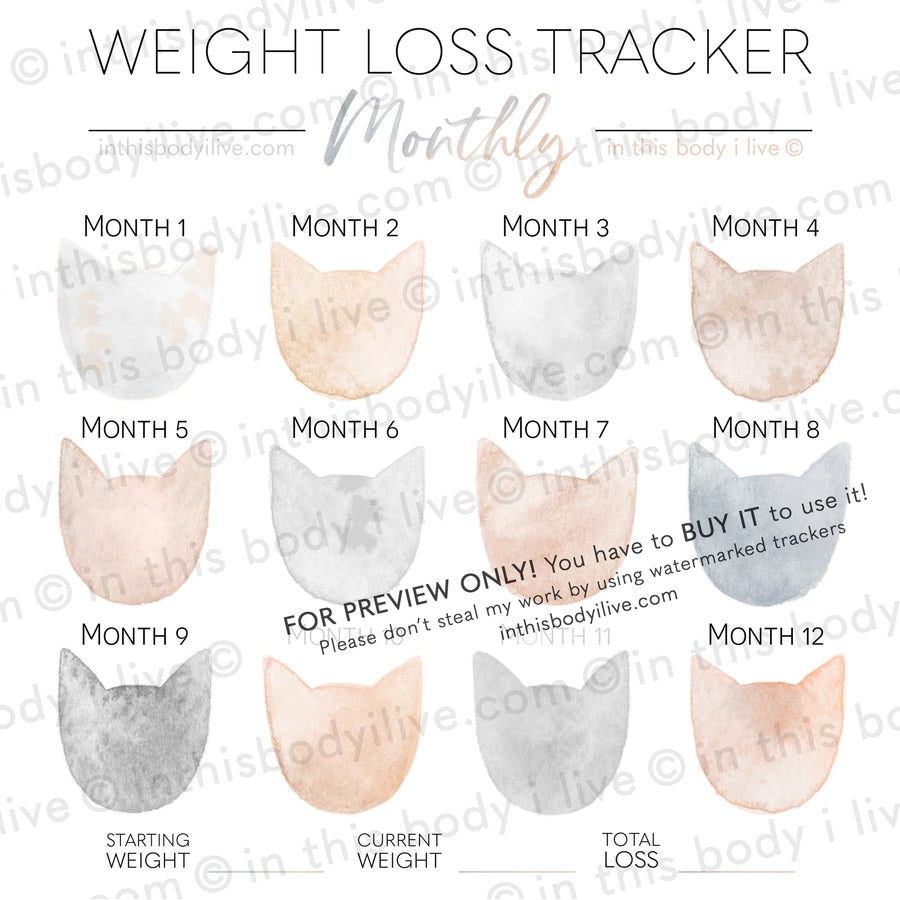 Cats - Monthly Weight Loss Tracker