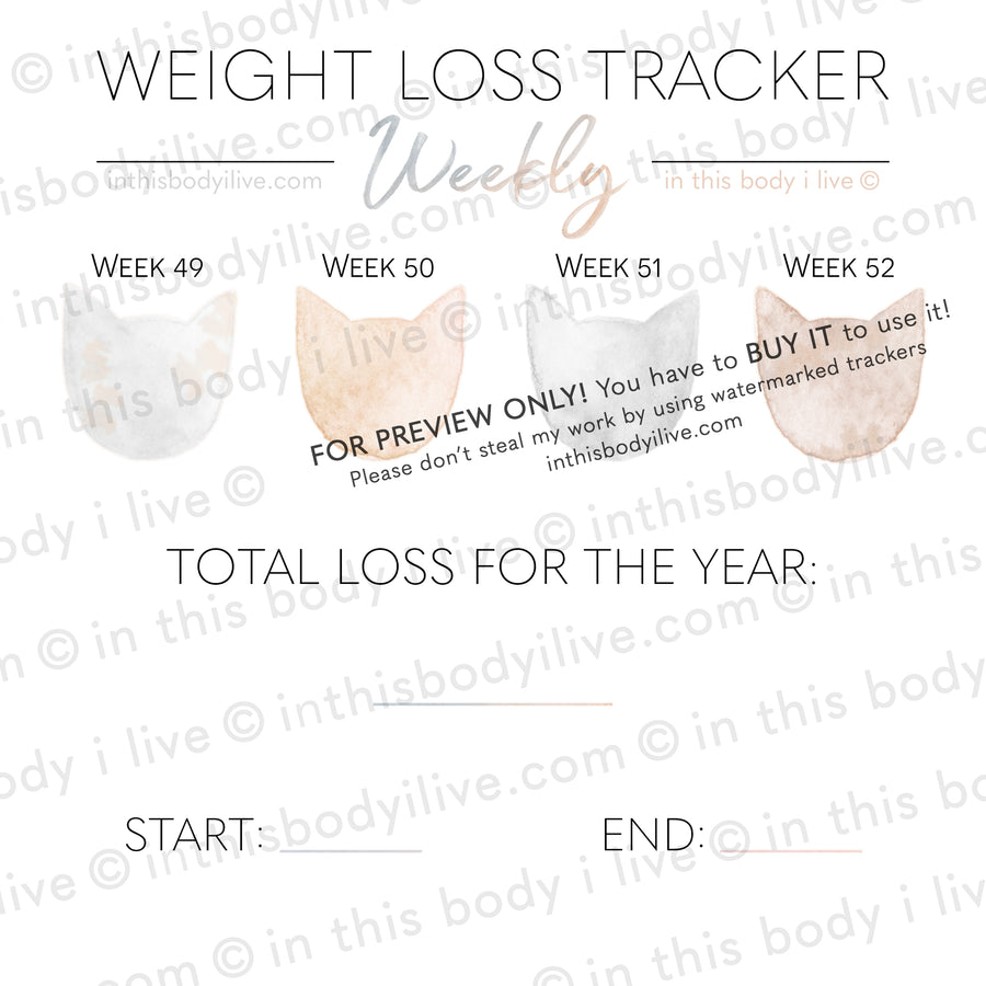 Cats - Weekly Weight Loss Tracker