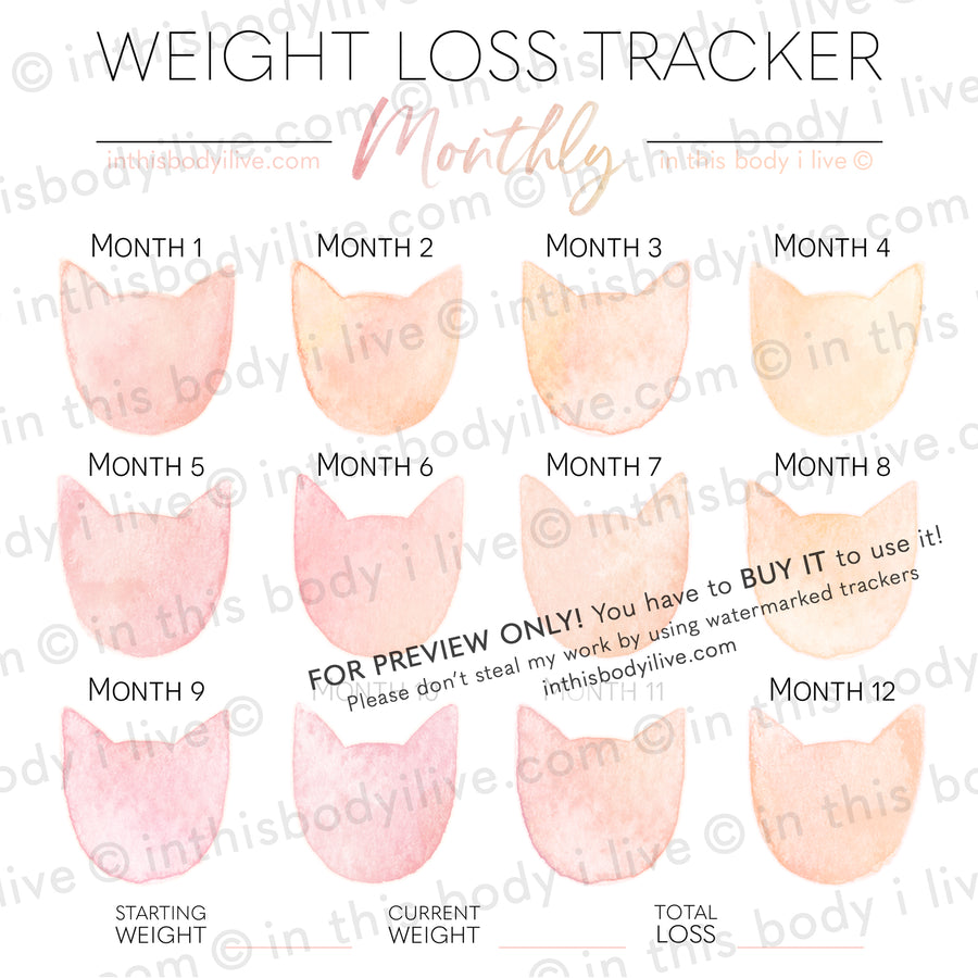 Coral Peach Cats - Monthly Weight Loss Tracker