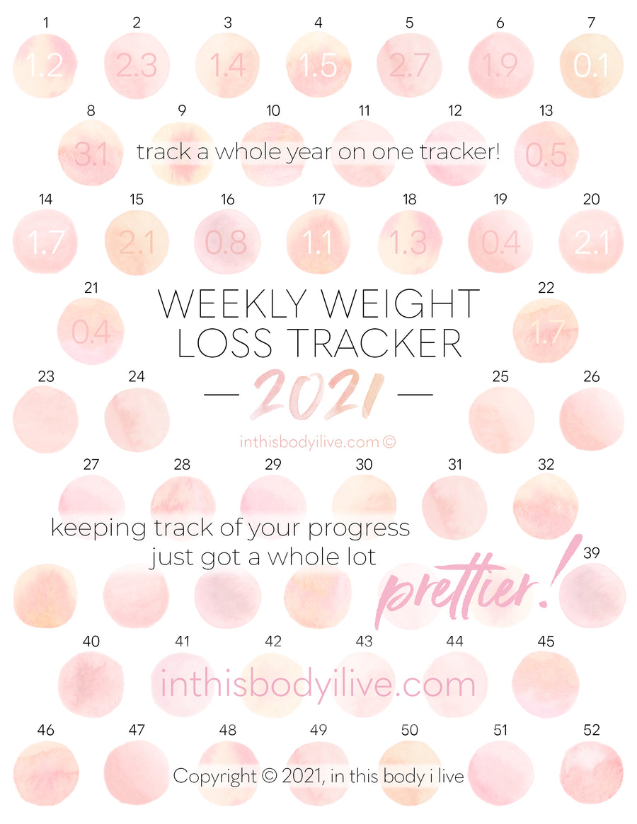 Coral Peach - 52 week 2021 Weight Loss Tracker