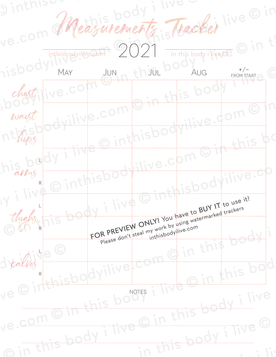 Set of 3 Measurement Charts - 2021 - Coral Peach