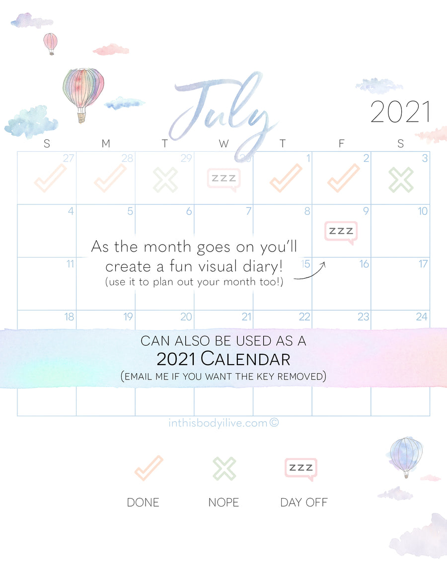Set of 12 Calendar Trackers - 2021 - Monthly Theme