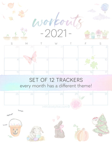 Set of 12 Workout Trackers - 2021 - Monthly Theme