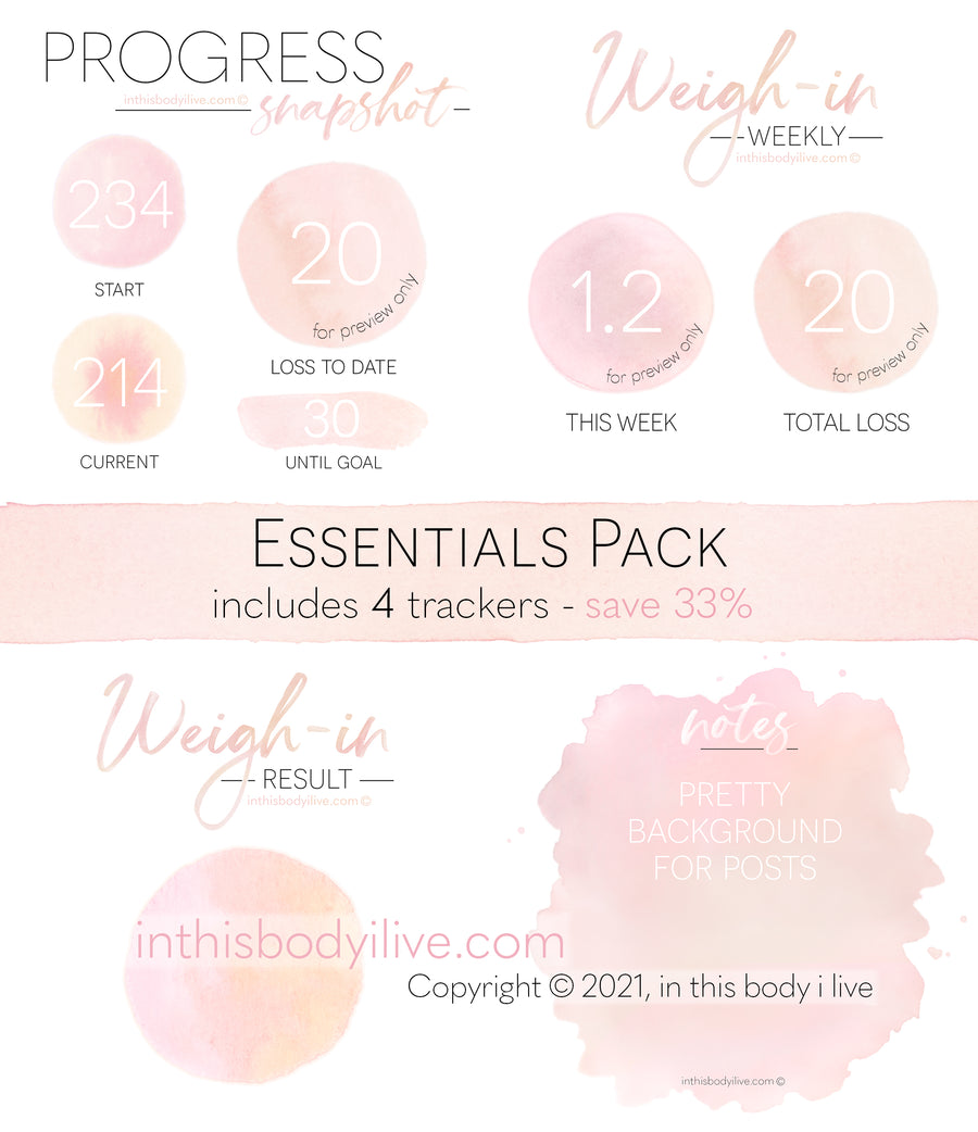 Essentials Pack - Weigh-In, Progress + Notes - Coral Peach