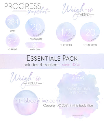 Essentials Pack - Weigh-In, Progress + Notes - Purple Splash