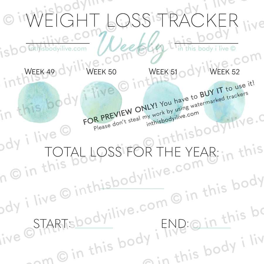 Under the SeaGreen - Weekly Weight Loss Tracker