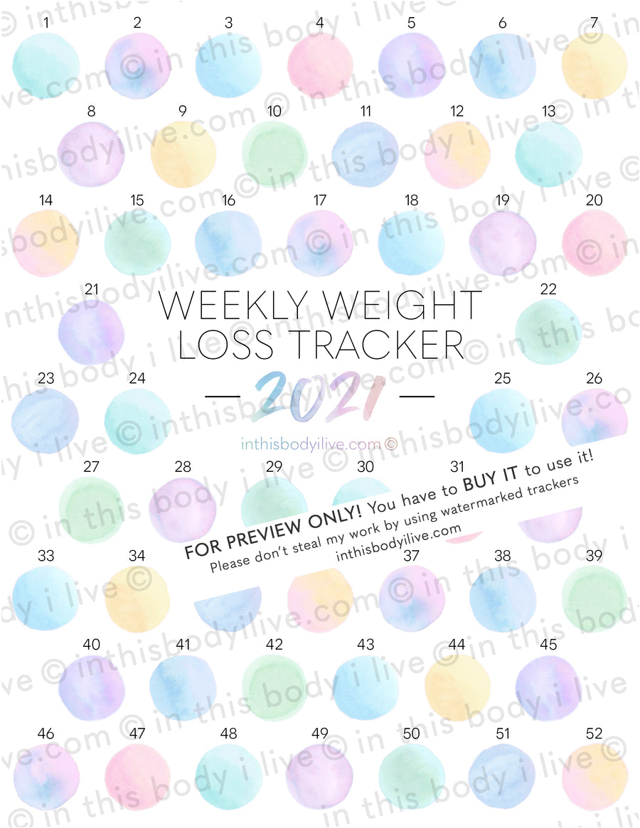 Gumballs - 52 week 2021 Weight Loss Tracker