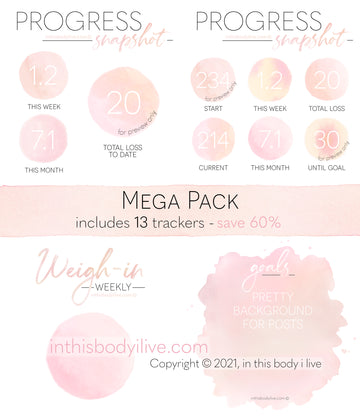Mega Pack - Weigh-In, Progress + Goals - Coral Peach