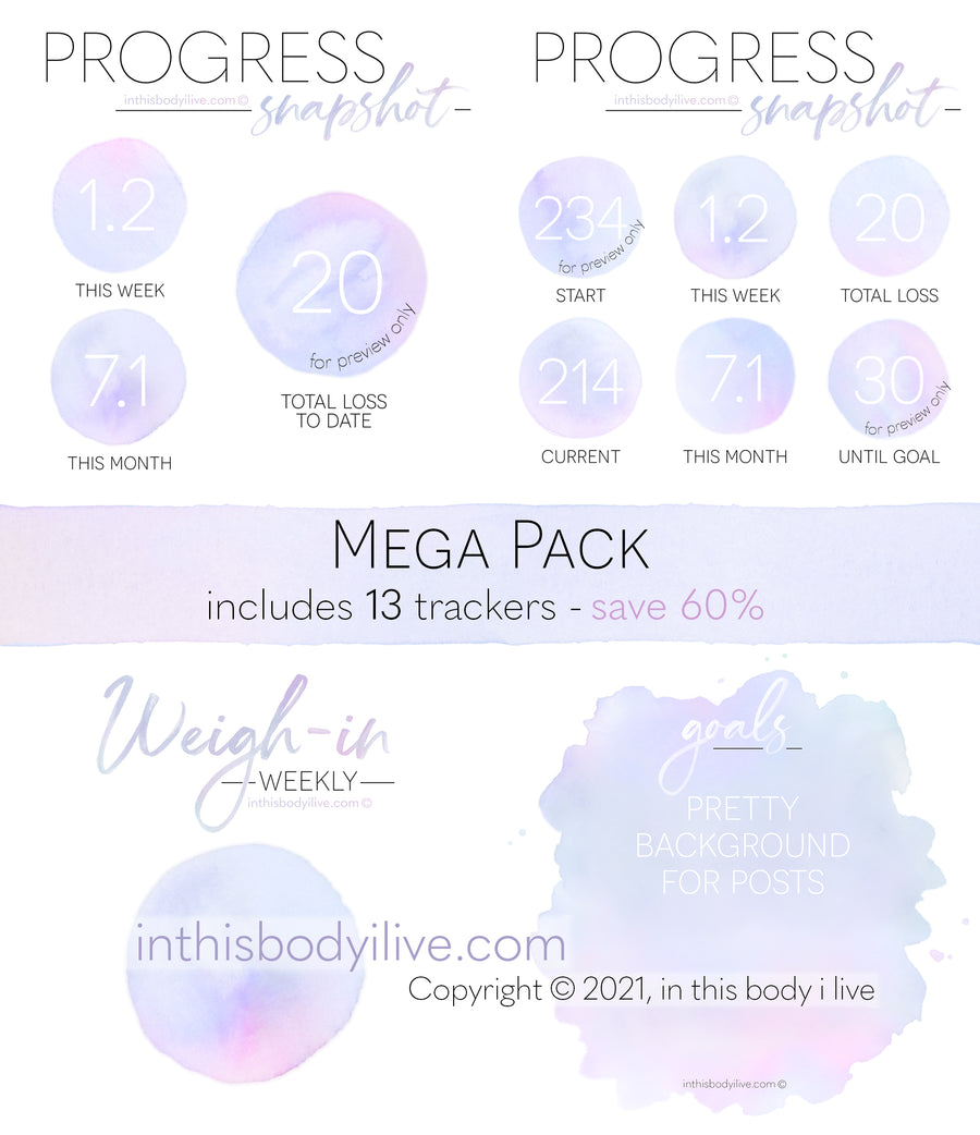 Mega Pack - Weigh-In, Progress + Goals - Purple Splash