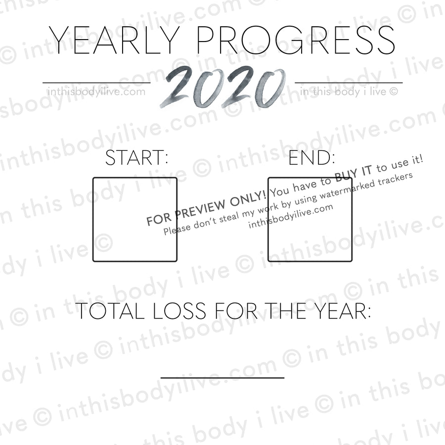 Minimal Black - 2020 Yearly Progress Tracker