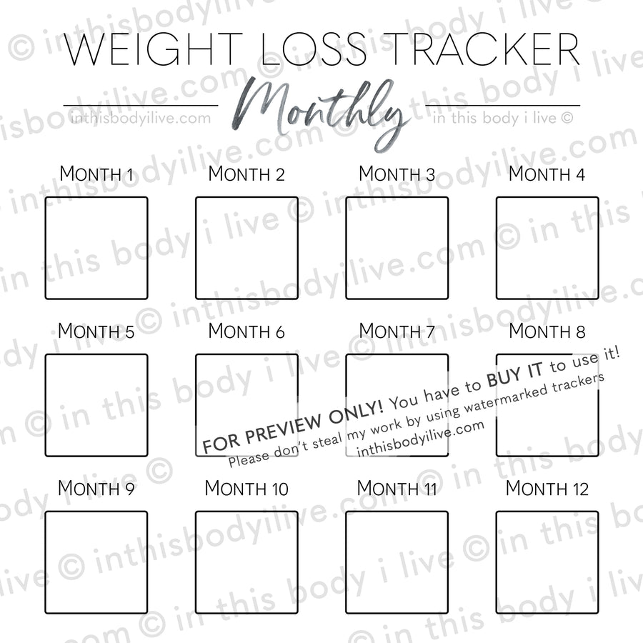 Minimal Black - Monthly Weight Loss Tracker