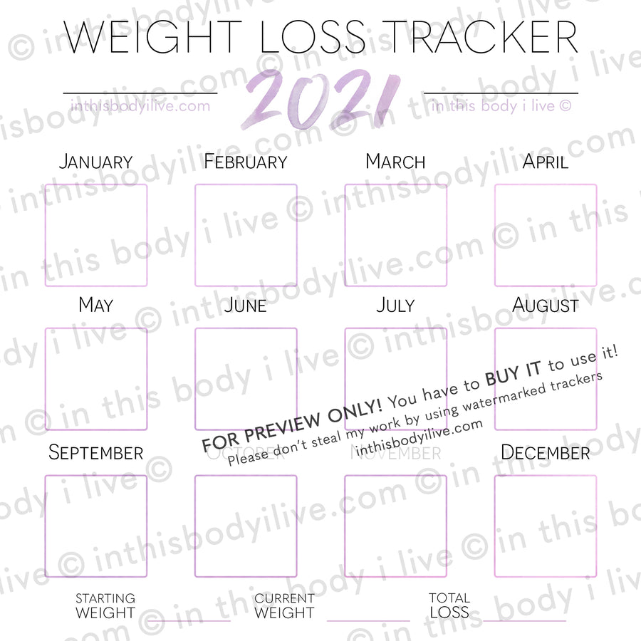 Minimal Purple - 2021 Weight Loss Calendar