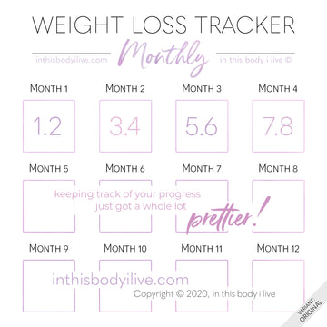 Minimal Purple - Monthly Weight Loss Tracker