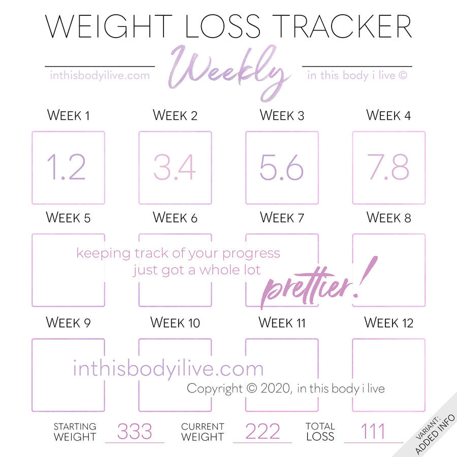 Minimal Purple - Weekly Weight Loss Tracker