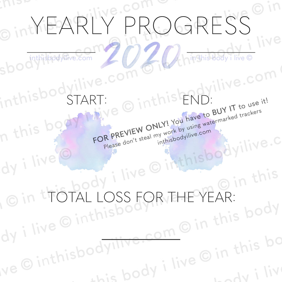 Purple Splash - 2020 Yearly Progress Tracker