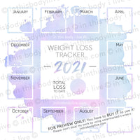 2021 Weight Loss Tracker by in this body i live   Purple Splash