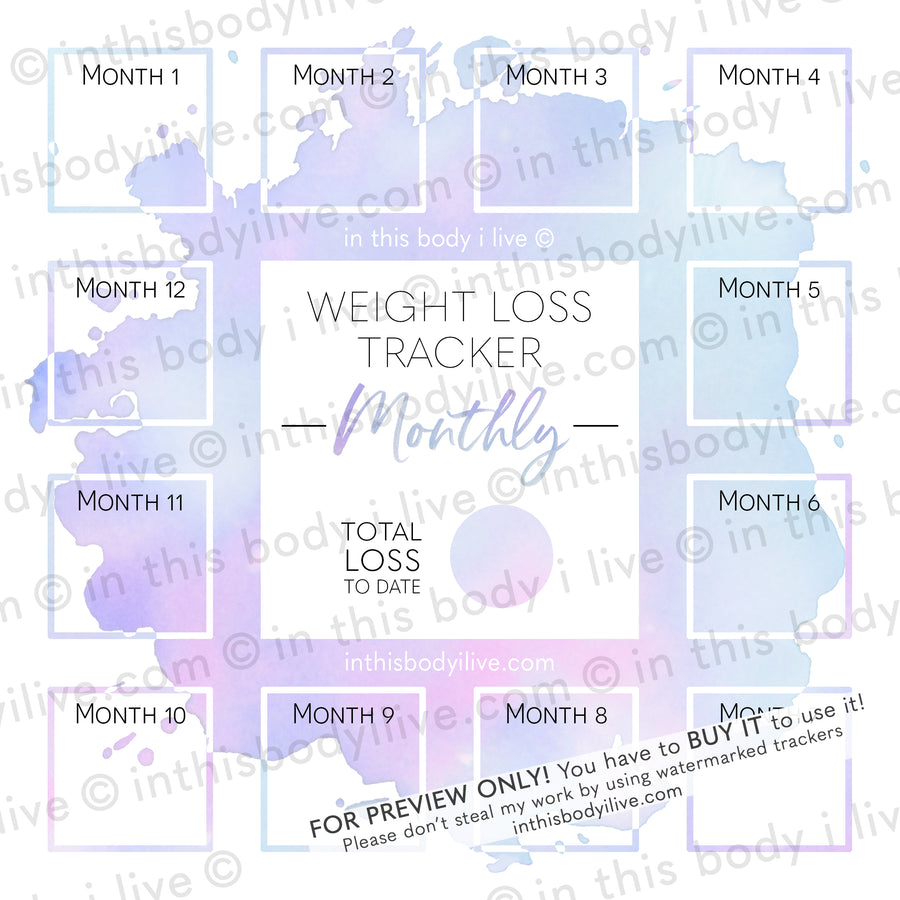 Purple Splash - Monthly Weight Loss Tracker