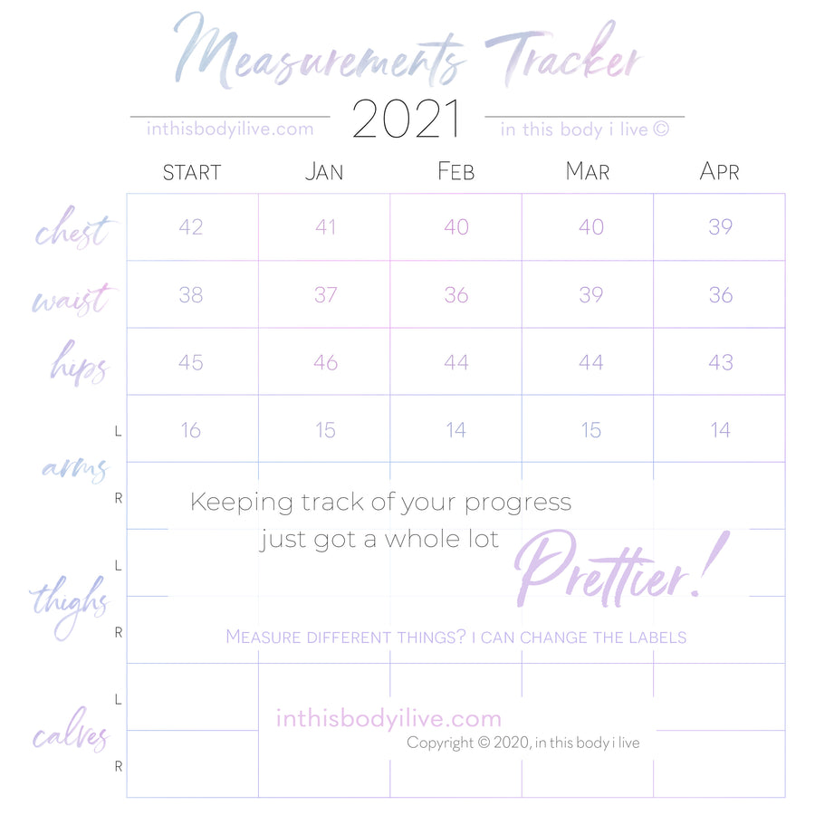 Set of 3 Measurement Charts - 2021 - Purple Splash