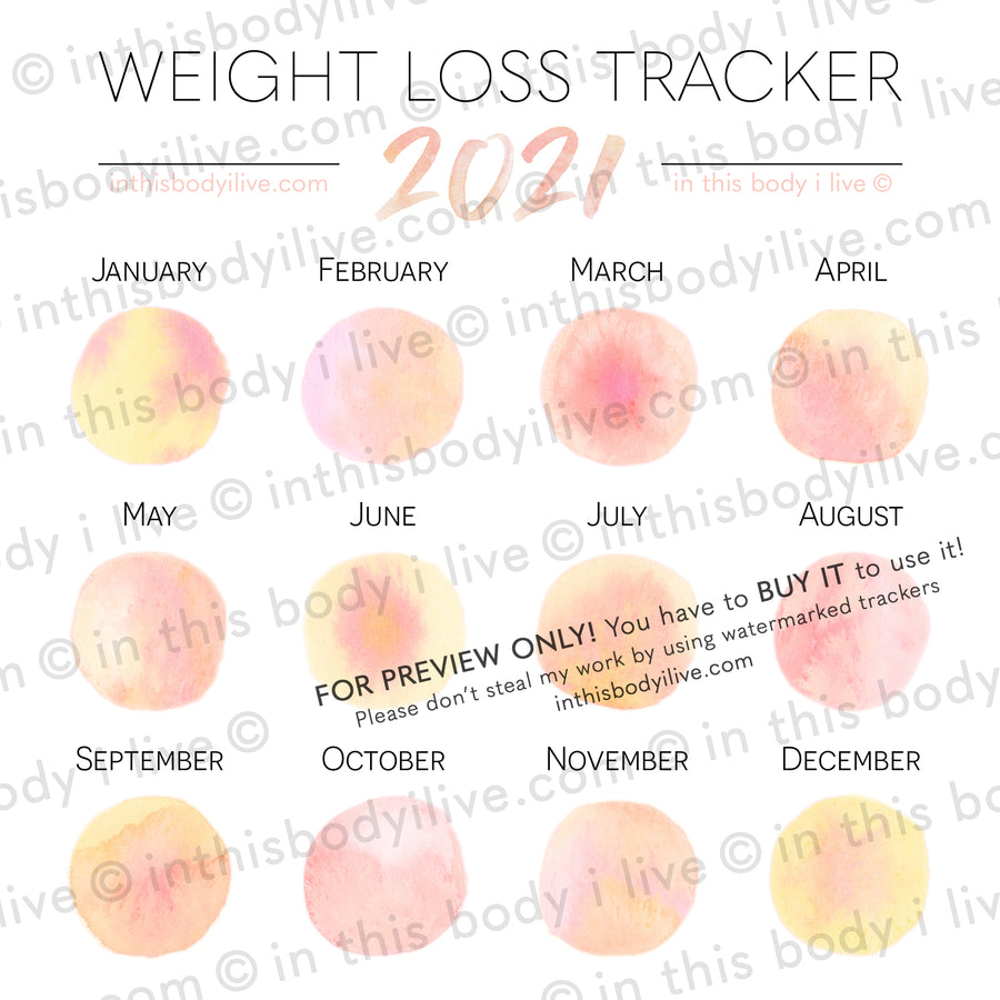 Life's Peachy - 2021 Weight Loss Calendar