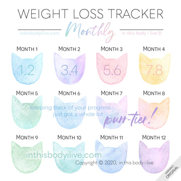 Rainbow Cats - Monthly Weight Loss Tracker