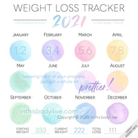 Weight Loss Calendar 2021 2021 Weight Loss Tracker by in this body i live   Over the Rainbow