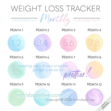 Over the Rainbow - Monthly Weight Loss Tracker