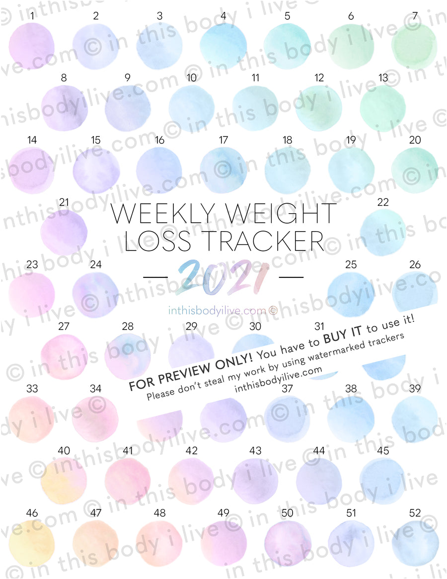 Sunrise - 52 week 2021 Weight Loss Tracker