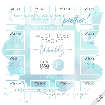 Turquoise Splash - Weekly Weight Loss Tracker