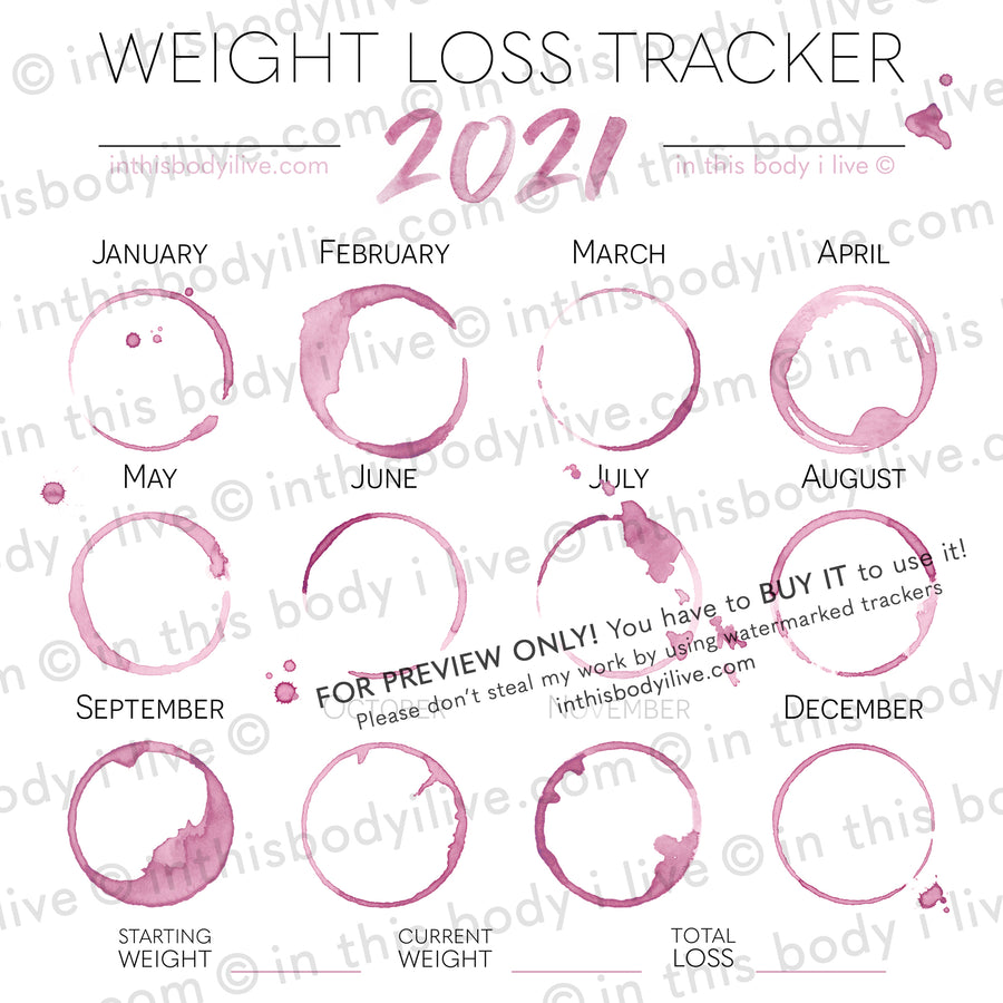 Wine O'Clock - 2021 Weight Loss Calendar