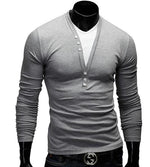 Men Casual 1/4 Button Up Slim Fit Long Sleeve Shirt