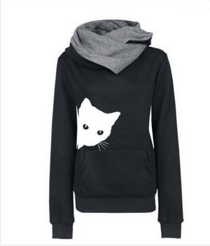Ms. Cat Print Pocket Hooded Long Sleeve Fleece Sweater