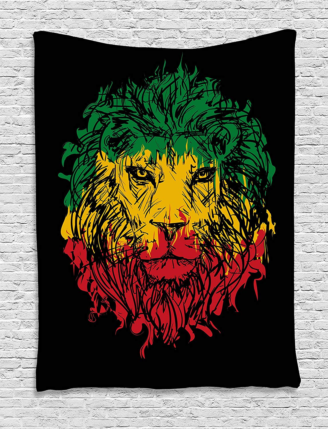 Calico Lion Headband Black Background Wall Rug