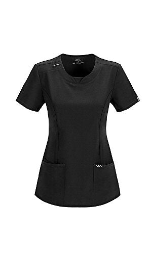 CHEROKEE Infinity Women's Scrub Set - 2624A Round Neck Top & 1124A Low Rise Slim Pull-On Pant, Black, Medium